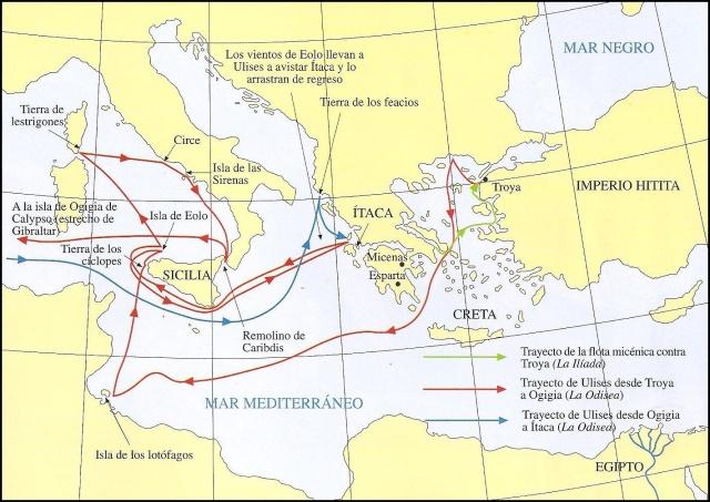 mapa el viaje de Odiseo